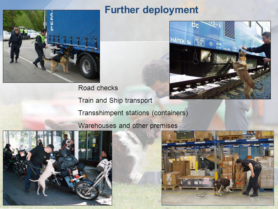 Further deployment Road checks Train and Ship transport Transshimpent stations (containers) Warehouses and other premises