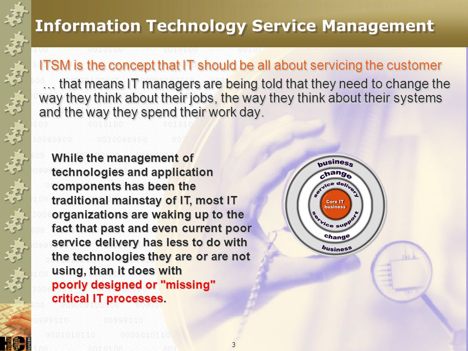103 What to Expect FutureToday Best PracticesCertification Service Desk SWIntegrated Service Mgmt SW Gap AnalysisMature Maturity Modeling ITIL modules ITIL-3 Process emphases ITIL/CMM/COBIT integration