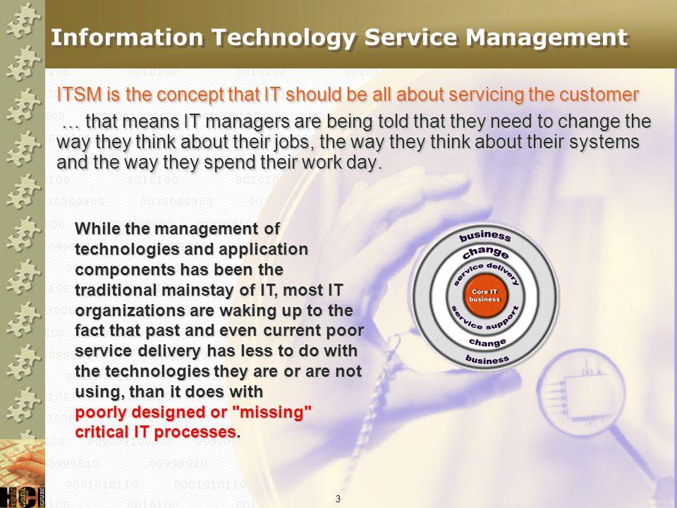 33 Change Management Security Management Availability Management Performance Management Problem Management Backup & Recovery Application & System Design Capacity Planning Configuration/Asset Management Service Level Management The Structure .