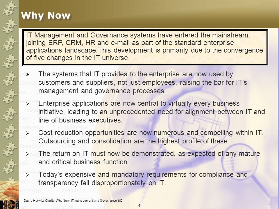 84 So, CMMI can provide advice on HOW to implement Some ITIL processes exist predominantly at a specific, but attainable level of maturity – but, can achieve additional benefits at higher implementation levels Some aspects of ITIL processes exist at levels of maturity beyond the capability of the organization at its current maturity levels.
