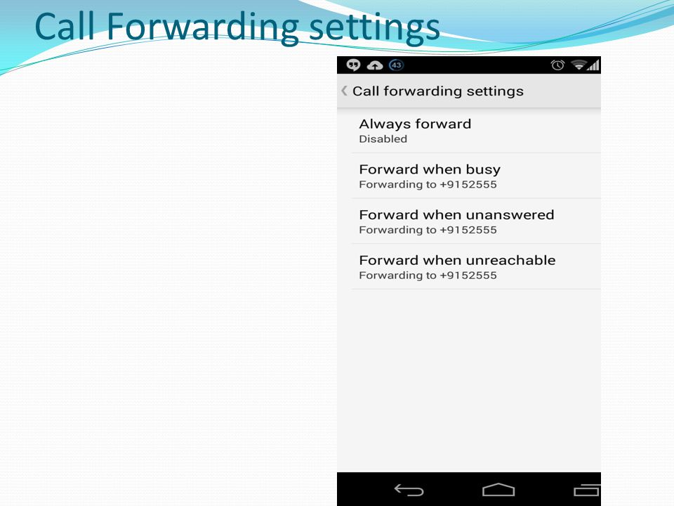 Call Forwarding settings