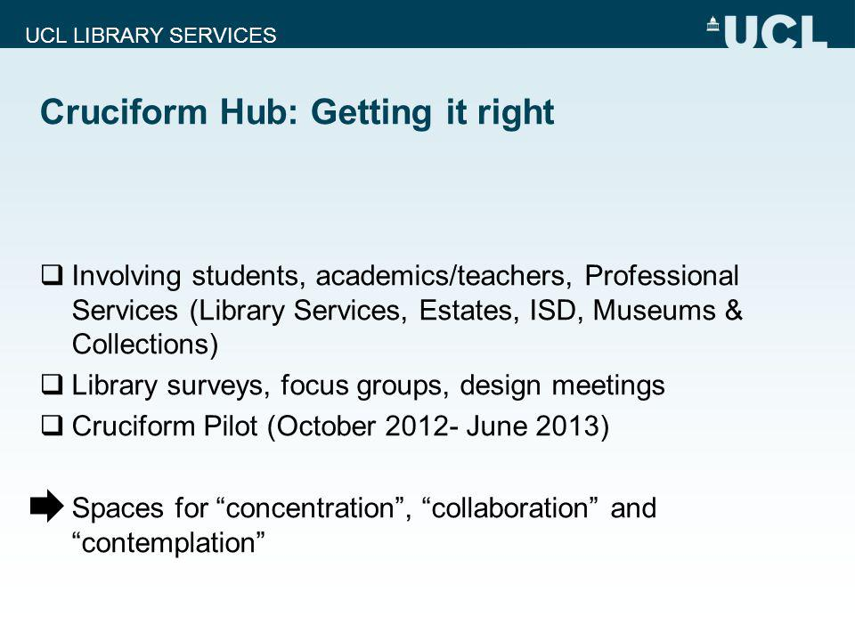 UCL LIBRARY SERVICES Cruciform Hub: Getting it right Involving students, academics/teachers, Professional Services (Library Services, Estates, ISD, Mu