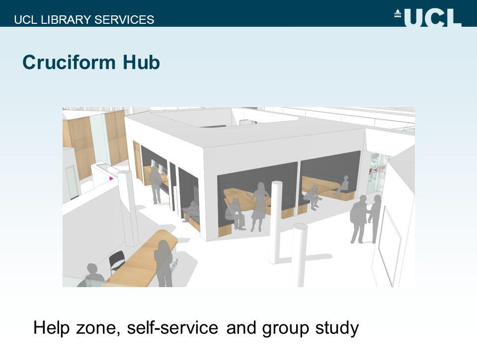 UCL LIBRARY SERVICES Cruciform Hub Help zone, self-service and group study