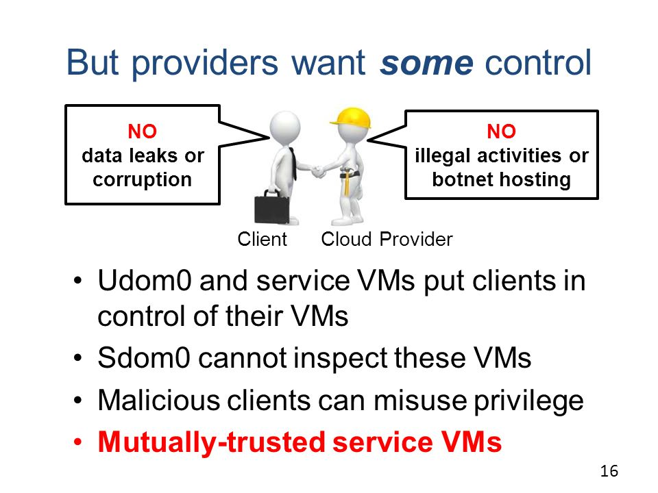 Cloud ProviderClient But providers want some control Udom0 and service VMs put clients in control of their VMs Sdom0 cannot inspect these VMs Malicious clients can misuse privilege Mutually-trusted service VMs 16 NO data leaks or corruption NO illegal activities or botnet hosting