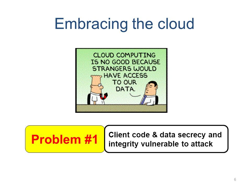 Embracing the cloud Problem #2 Clients must rely on provider to deploy customized services I need customized malware detection and VM rollback Cloud ProviderClient For now just have checkpointing … Cloud ProviderClient 7