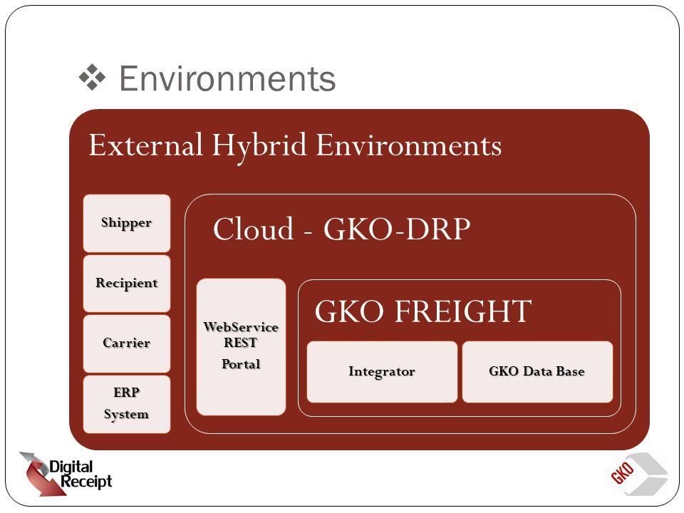Environments External Hybrid Environments Shipper Recipient Carrier ERPSystem Cloud - GKO-DRP WebService REST Portal GKO FREIGHT Integrator GKO Data Base