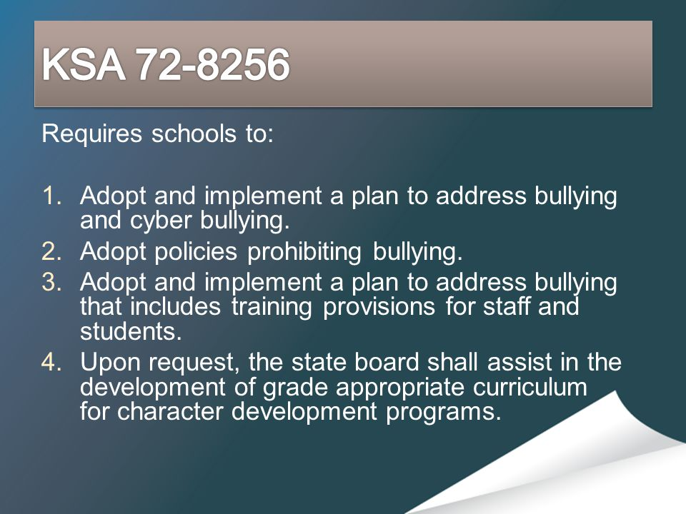 Requires schools to: 1.Adopt and implement a plan to address bullying and cyber bullying. 2.Adopt policies prohibiting bullying. 3.Adopt and implement