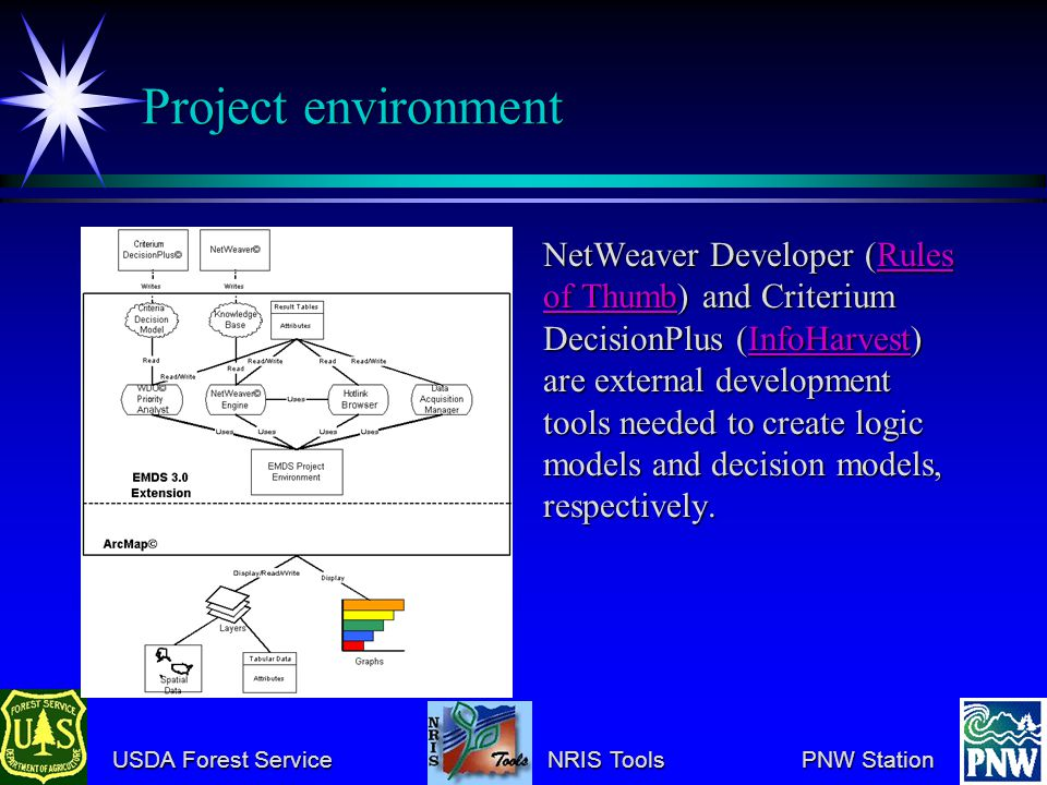 USDA Forest Service NRIS Tools PNW Station USDA Forest Service NRIS Tools PNW Station Project environment NetWeaver Developer (Rules of Thumb) and Criterium DecisionPlus (InfoHarvest) are external development tools needed to create logic models and decision models, respectively.