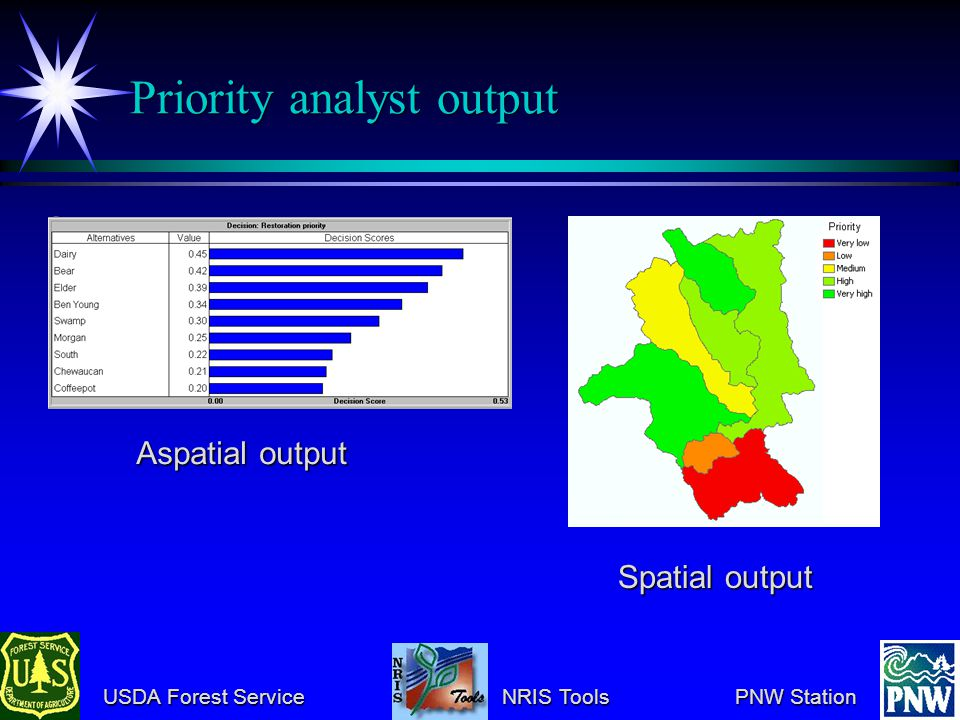 USDA Forest Service NRIS Tools PNW Station USDA Forest Service NRIS Tools PNW Station Priority analyst output Aspatial output Spatial output