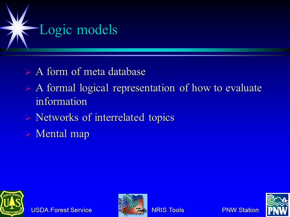 USDA Forest Service NRIS Tools PNW Station USDA Forest Service NRIS Tools PNW Station Logic models A form of meta database A form of meta database A formal logical representation of how to evaluate information A formal logical representation of how to evaluate information Networks of interrelated topics Networks of interrelated topics Mental map Mental map