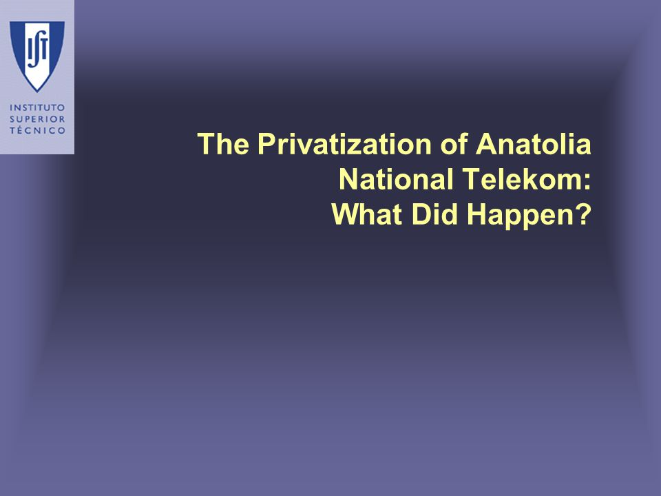 The Privatization of Anatolia National Telekom: What Did Happen?