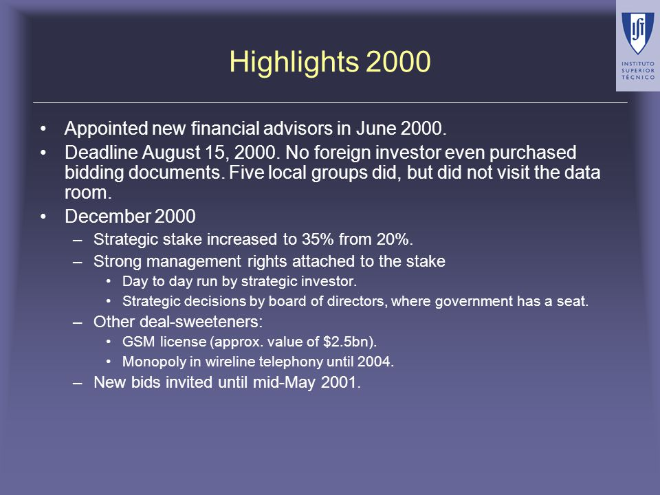 Highlights 2001 Road show was kicked off in January, but was halted before seeing London investors.