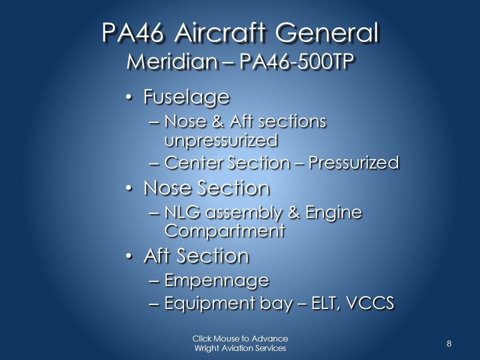 PA46 Performance For example & training only Refer to your own aircraft Performance Information whenever making these calculations 19 Click Mouse to Advance Wright Aviation Services Cruise Endurance : Intermediate Cruise Speed Flight Level: FL 250 OAT: -15 C Power: Max Cruise Takeoff Fuel: 1139 lbs Power Setting: 900 ft/lbs torque Speed:235 KTAS Fuel Burn:206lbs/hr – 93.8 kg/hr Cruise Endurance:3:47 w/reserve Range w/IFR Reserve: 942 nm
