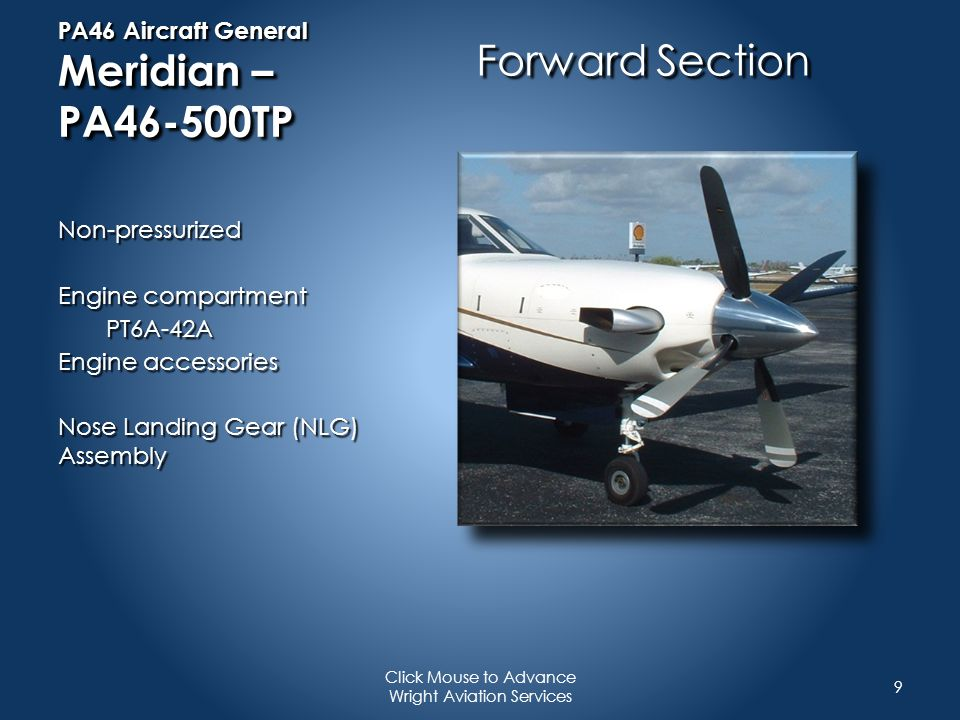 PA46 Performance For example & training only Refer to your own aircraft Performance Information whenever making these calculations 20 Click Mouse to Advance Wright Aviation Services Decent Performance : From FL 250 to sea level Power Setting: 350 ft/lbs torque Cruise OAT: -20 C Descent Speeds: 174 KIAS Descent Rate: 1506 fpm Fuel Burn:97 lbs / 22.7 kg Time to Descend: 16.6 minutes Distance covered: 60.2 nm