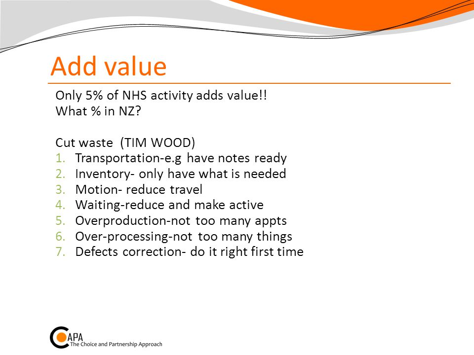 Add value Only 5% of NHS activity adds value!. What % in NZ.