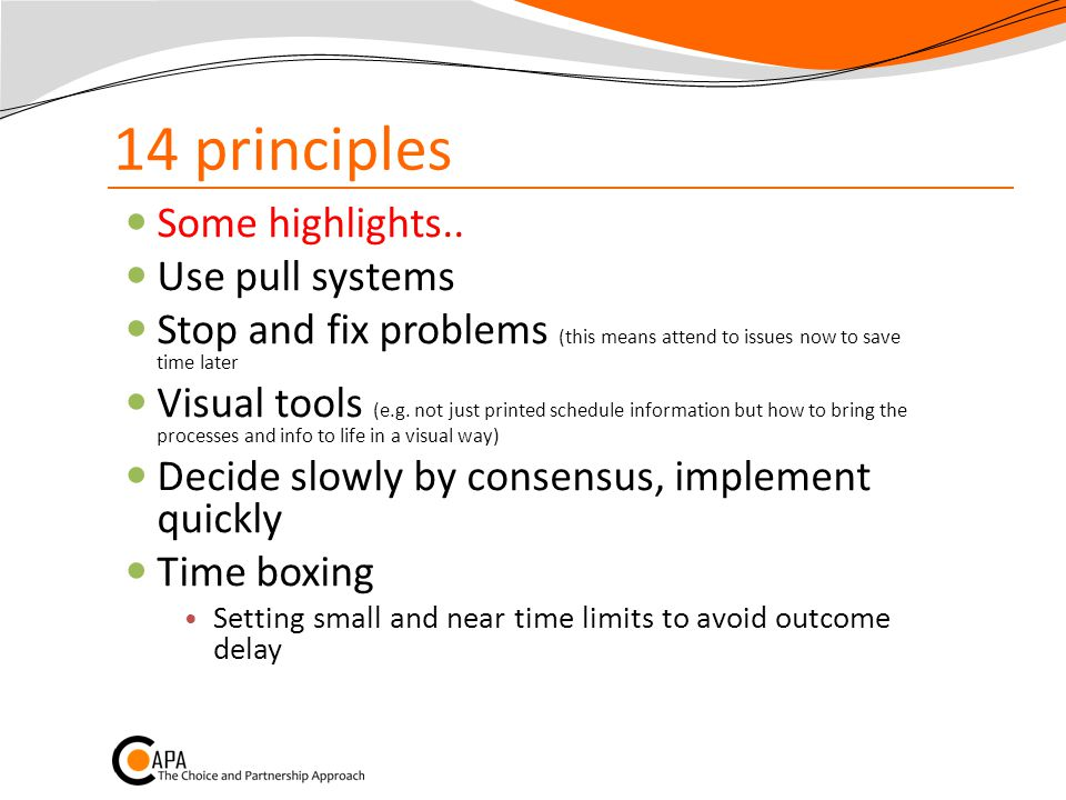 14 principles Some highlights..