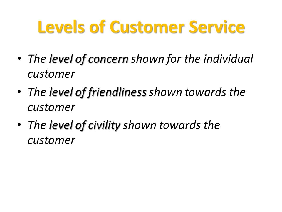 Levels of Customer Service level of concern The level of concern shown for the individual customer level of friendliness The level of friendliness shown towards the customer level of civility The level of civility shown towards the customer