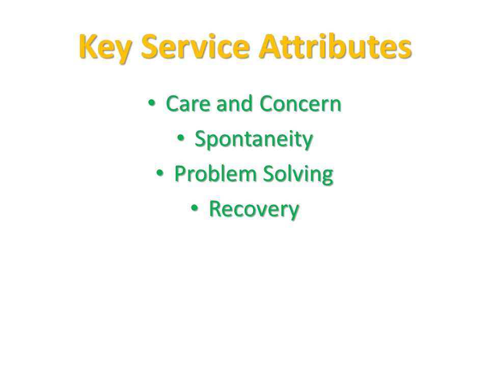 Key Service Attributes Care and Concern Care and Concern Spontaneity Spontaneity Problem Solving Problem Solving Recovery Recovery