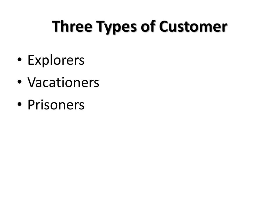 Three Types of Customer Explorers Vacationers Prisoners