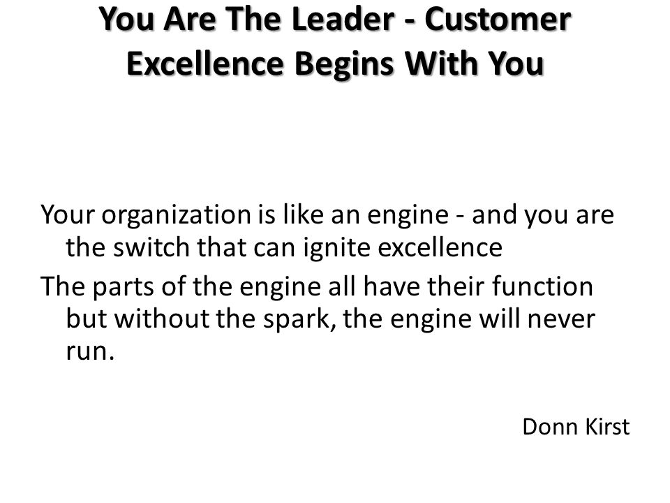 You Are The Leader - Customer Excellence Begins With You Your organization is like an engine - and you are the switch that can ignite excellence The parts of the engine all have their function but without the spark, the engine will never run.