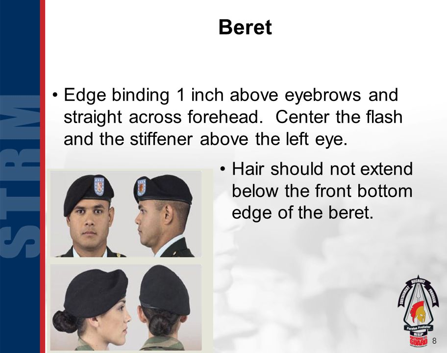 8 Edge binding 1 inch above eyebrows and straight across forehead. Center the flash and the stiffener above the left eye. Hair should not extend below