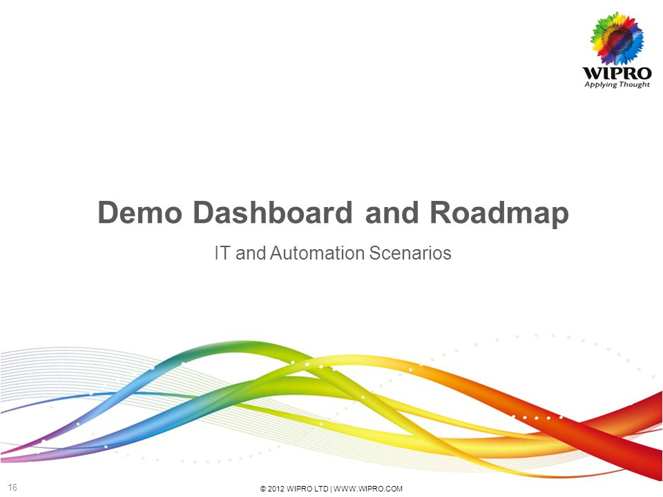 © 2012 WIPRO LTD | WWW.WIPRO.COM 16 Demo Dashboard and Roadmap IT and Automation Scenarios