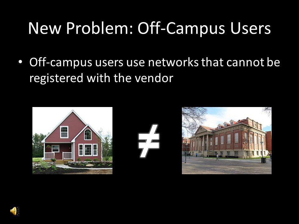 New Problem: Off-Campus Users Off-campus users use networks that cannot be registered with the vendor