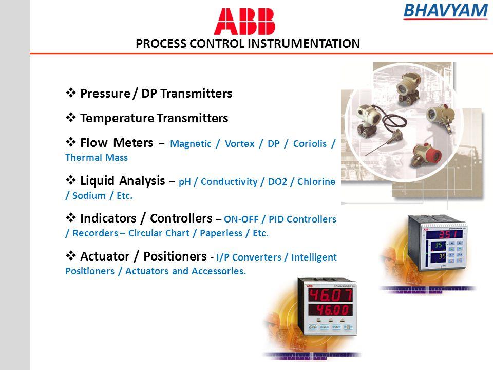 Pressure / DP Transmitters Temperature Transmitters Flow Meters – Magnetic / Vortex / DP / Coriolis / Thermal Mass Liquid Analysis – pH / Conductivity