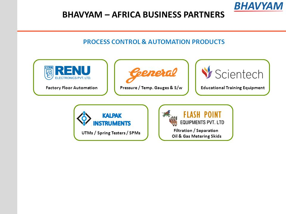 BHAVYAM – AFRICA BUSINESS PARTNERS PROCESS CONTROL & AUTOMATION PRODUCTS Filtration / Separation Oil & Gas Metering Skids UTMs / Spring Testers / SPMs Factory Floor Automation Pressure / Temp.