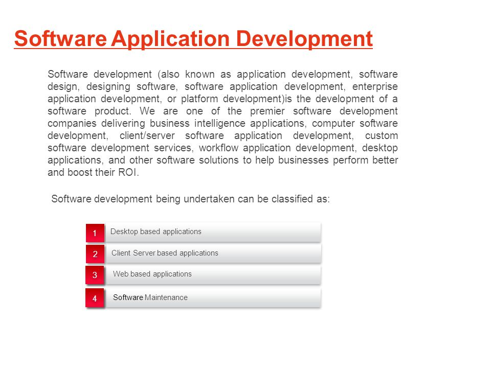 Software Application Development Web based applications Software Maintenance 1 1 2 2 Desktop based applications Client Server based applications Software development (also known as application development, software design, designing software, software application development, enterprise application development, or platform development)is the development of a software product.