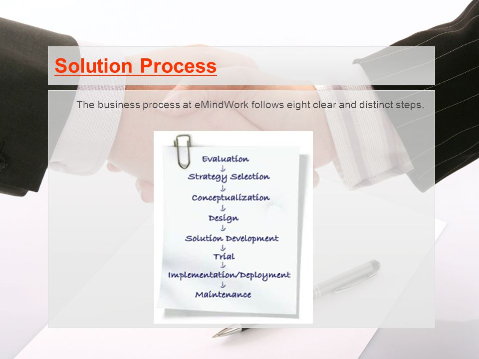 Solution Process The business process at eMindWork follows eight clear and distinct steps.
