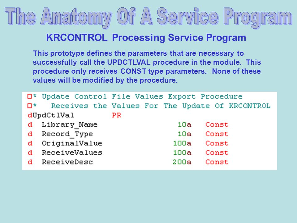 KRCONTROL Processing Service Program This prototype defines the parameters that are necessary to successfully call the UPDCTLVAL procedure in the module.