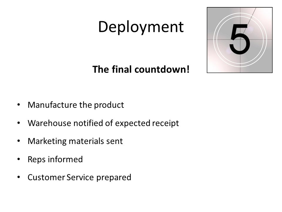 Deployment The final countdown! Manufacture the product Warehouse notified of expected receipt Marketing materials sent Reps informed Customer Service