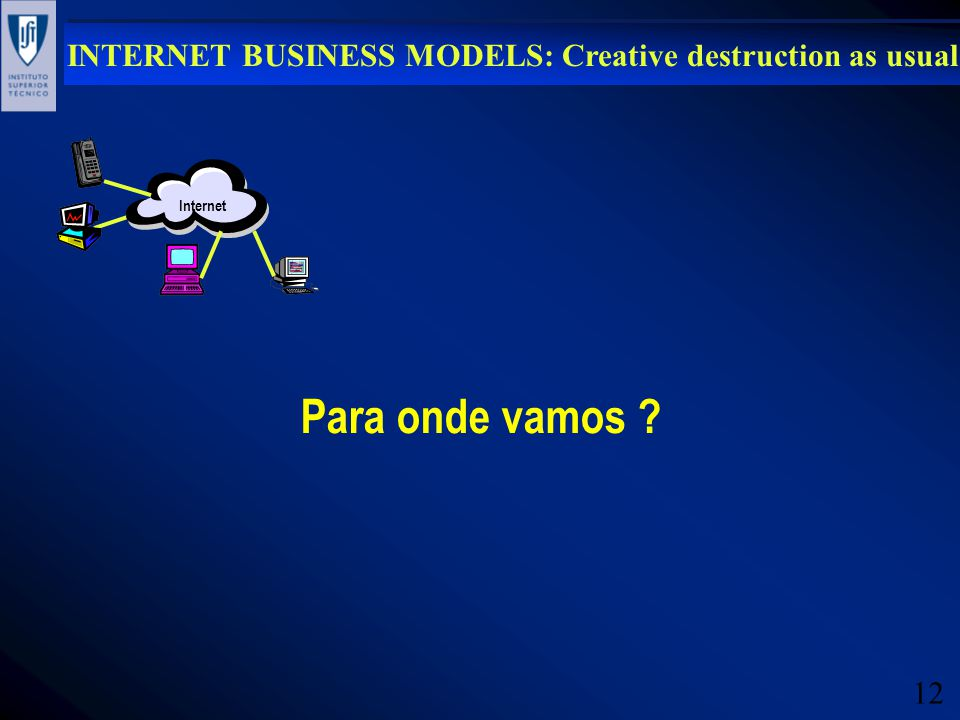 12 INTERNET BUSINESS MODELS: Creative destruction as usual Internet Para onde vamos