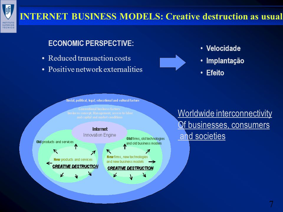 7 INTERNET BUSINESS MODELS: Creative destruction as usual Reduced transaction costs Positive network externalities ECONOMIC PERSPECTIVE: Velocidade Im