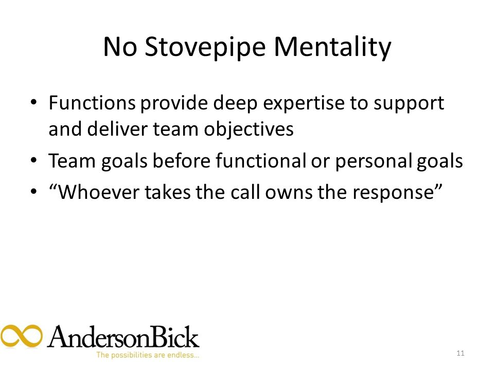 No Stovepipe Mentality Functions provide deep expertise to support and deliver team objectives Team goals before functional or personal goals Whoever takes the call owns the response 11