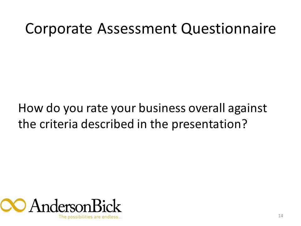 Corporate Assessment Questionnaire How do you rate your business overall against the criteria described in the presentation.