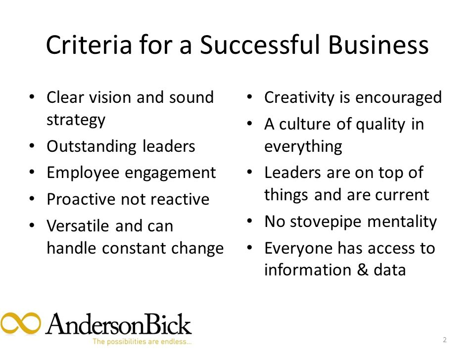 Criteria for a Successful Business Clear vision and sound strategy Outstanding leaders Employee engagement Proactive not reactive Versatile and can handle constant change Creativity is encouraged A culture of quality in everything Leaders are on top of things and are current No stovepipe mentality Everyone has access to information & data 2