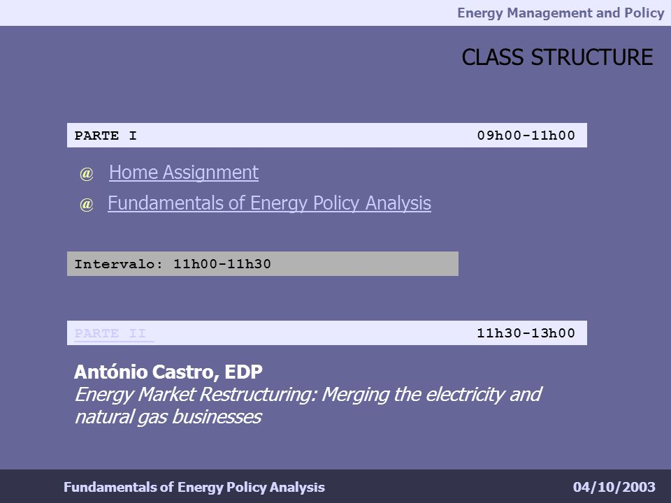 Energy Management and Policy 04/10/2003Fundamentals of Energy Policy Analysis CLASS STRUCTURE @ Fundamentals of Energy Policy Analysis @ Home Assignme