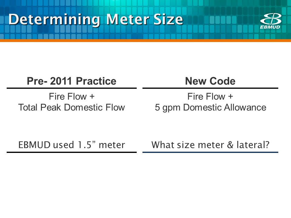 Determining Meter Size Pre- 2011 Practice New Code Fire Flow + Total Peak Domestic Flow EBMUD used 1.5 meter Fire Flow + 5 gpm Domestic Allowance What size meter & lateral?