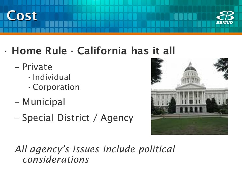 Cost Home Rule - California has it all –Private Individual Corporation –Municipal –Special District / Agency All agencys issues include political considerations