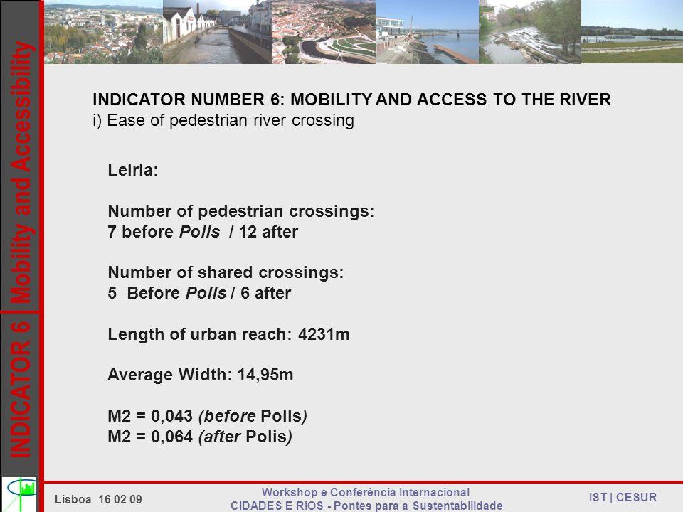 INDICATOR 6 Mobility and Accessibility IST | CESUR Lisboa 16 02 09 Workshop e Conferência Internacional CIDADES E RIOS - Pontes para a Sustentabilidade INDICATOR NUMBER 6: MOBILITY AND ACCESS TO THE RIVER i) Ease of pedestrian river crossing Leiria: Number of pedestrian crossings: 7 before Polis / 12 after Number of shared crossings: 5 Before Polis / 6 after Length of urban reach: 4231m Average Width: 14,95m M2 = 0,043 (before Polis) M2 = 0,064 (after Polis)