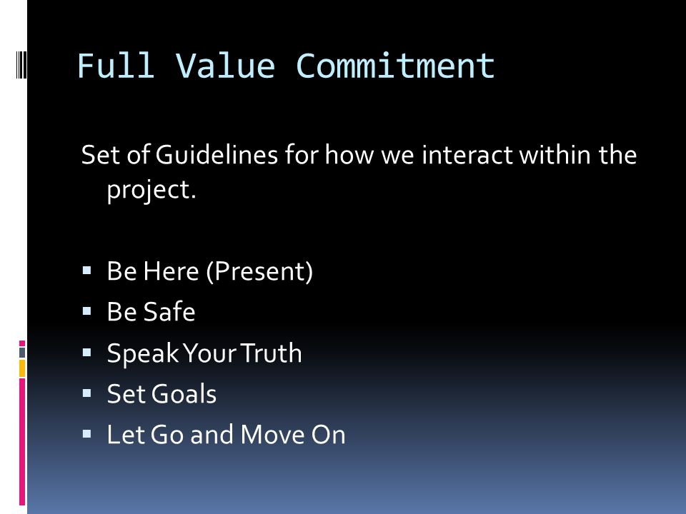 Full Value Commitment Set of Guidelines for how we interact within the project.