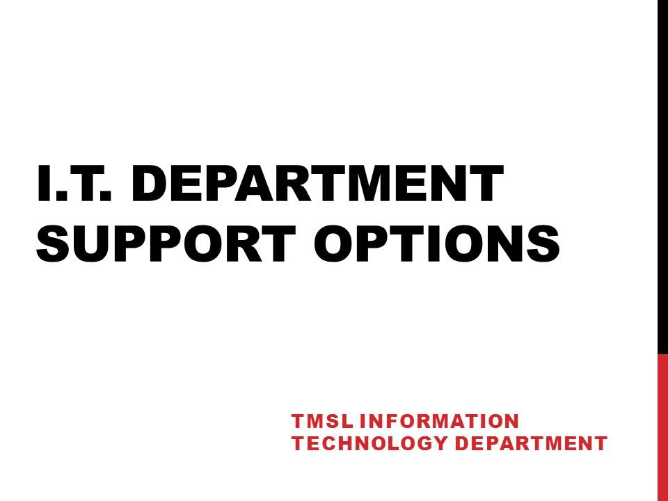 I.T. DEPARTMENT SUPPORT OPTIONS TMSL INFORMATION TECHNOLOGY DEPARTMENT