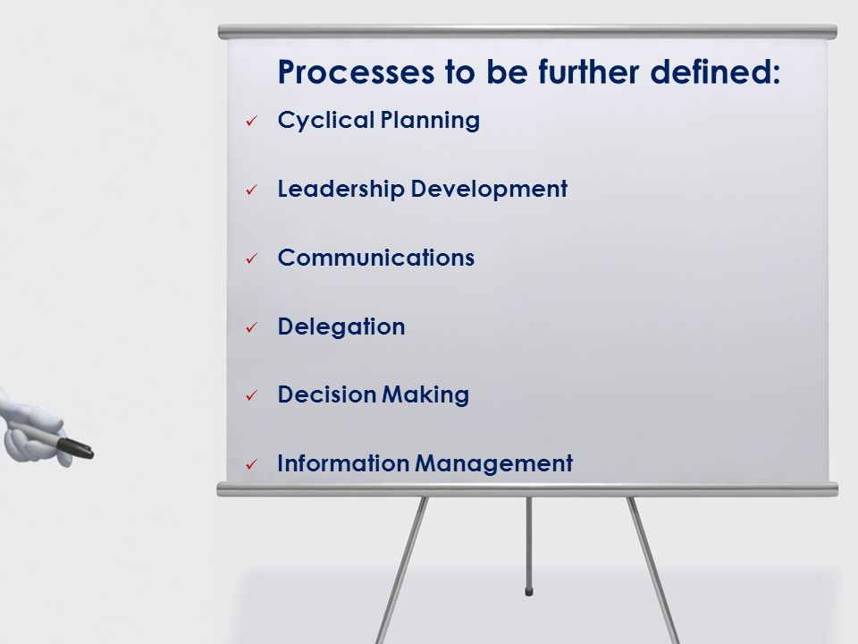 Processes to be further defined: Cyclical Planning Leadership Development Communications Delegation Decision Making Information Management