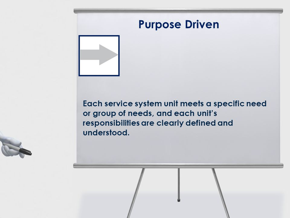 Purpose Driven Each service system unit meets a specific need or group of needs, and each units responsibilities are clearly defined and understood.