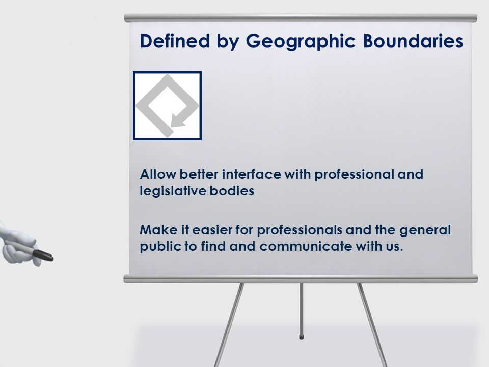 Defined by Geographic Boundaries Allow better interface with professional and legislative bodies Make it easier for professionals and the general publ