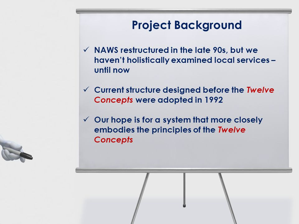 Project Background NAWS restructured in the late 90s, but we havent holistically examined local services – until now Current structure designed before