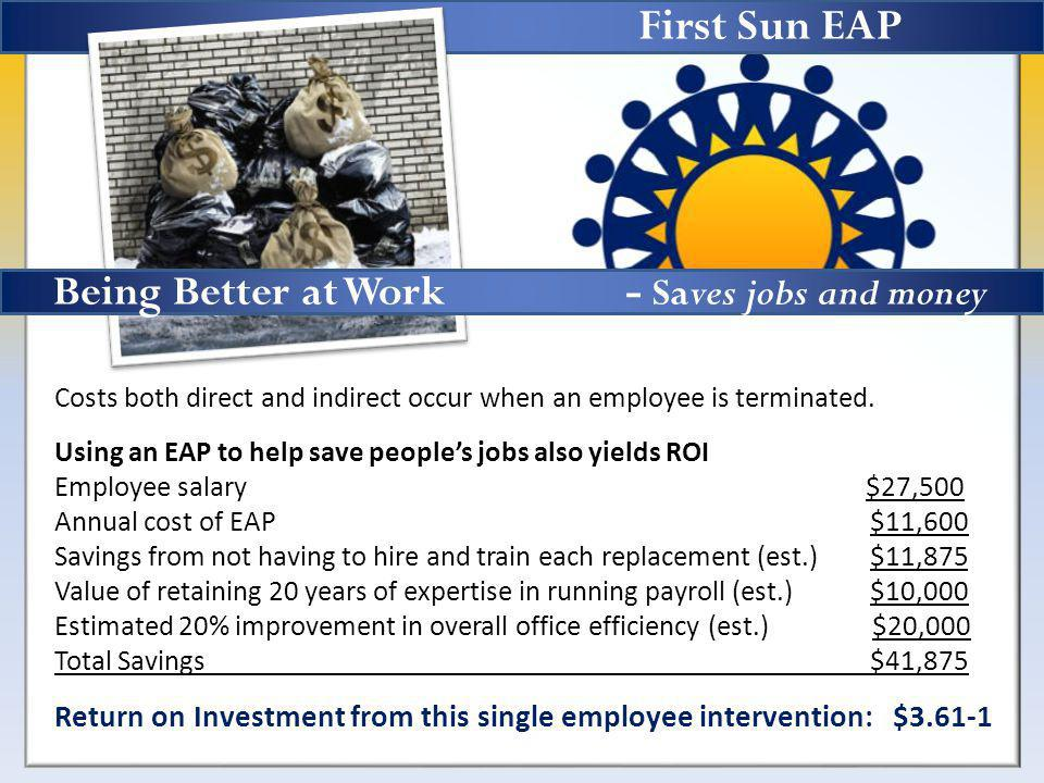 First Sun EAP Costs both direct and indirect occur when an employee is terminated.