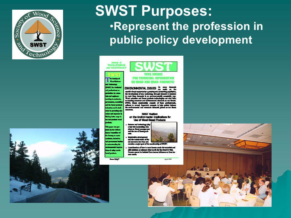SWST Purposes: Represent the profession in public policy development